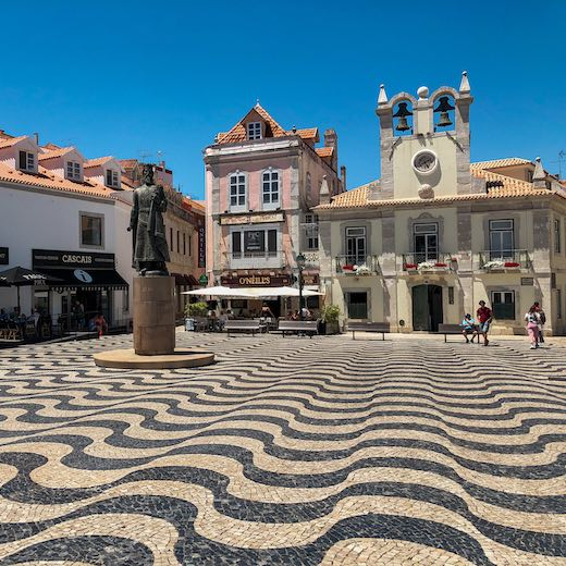 The charming town of Cascais Portugal with its patterned cobbled streets