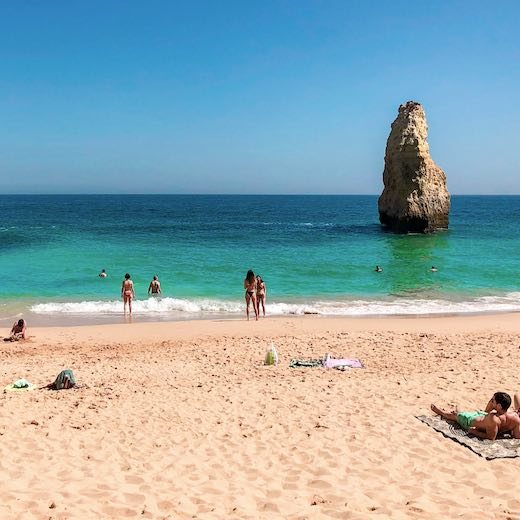 On your way to the Benagil sea cave Portugal, you'll come across Praia do Carvalho