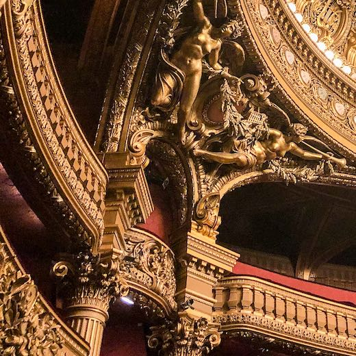 Intricate details of the Paris Opera House architecture
