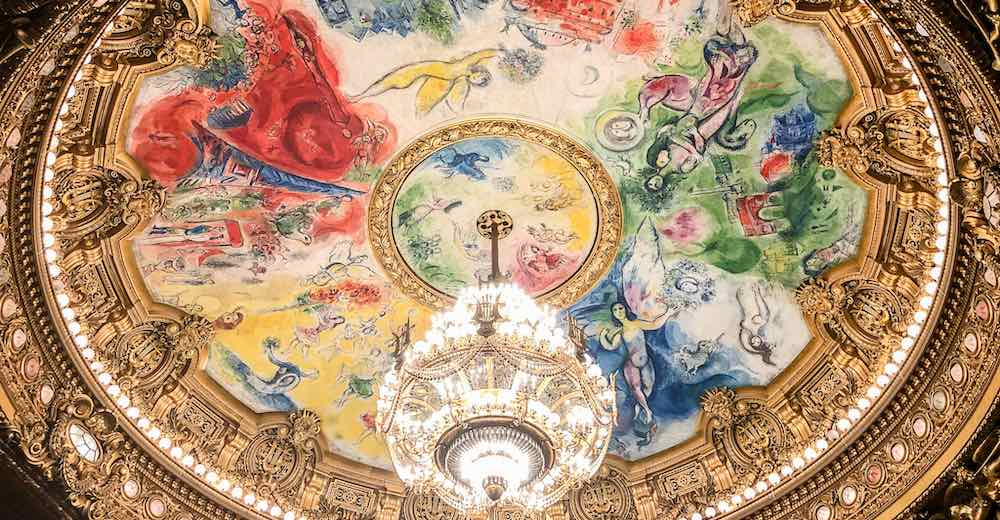 Chagall mural and chandelier at the auditorium of the Paris Opera House