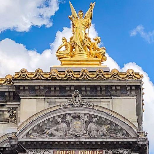 Gilded statue on Palais Garnier in Paris