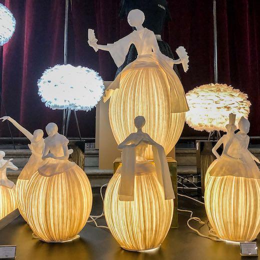 Lamps shaped like dancers at the Paris Opera ballet school
