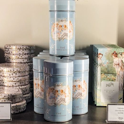 Tea tins in the Opera Garnier souvenir shop