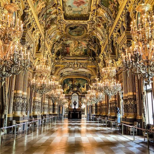 Grand Foyer in the magnificent Garnier Opera in Paris