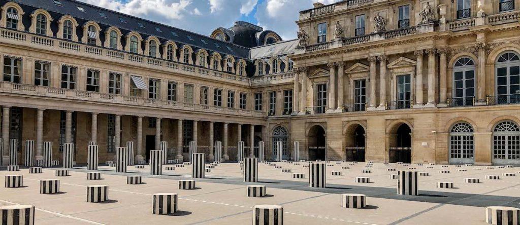 Colonnes de Buren art installation at the Palais Royal in Paris