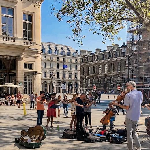 Classical music in front of the Comedie Francaise in Paris