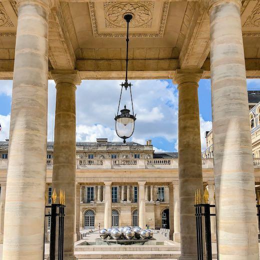 Detail of a lamp at the Palais-Royal Paris