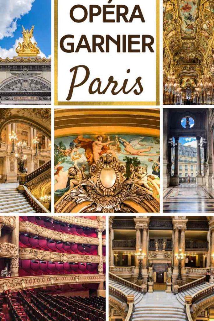 Exterior and interior of Opera Garnier in Paris