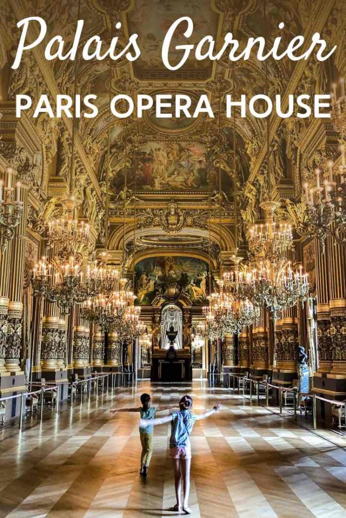 Two little girls dancing in the Grand Foyer of the Opera House in Paris