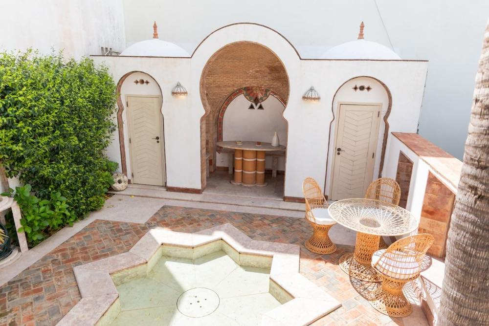 Moroccan-styled courtyard of an Airbnb Algarve Portugal vacation rental