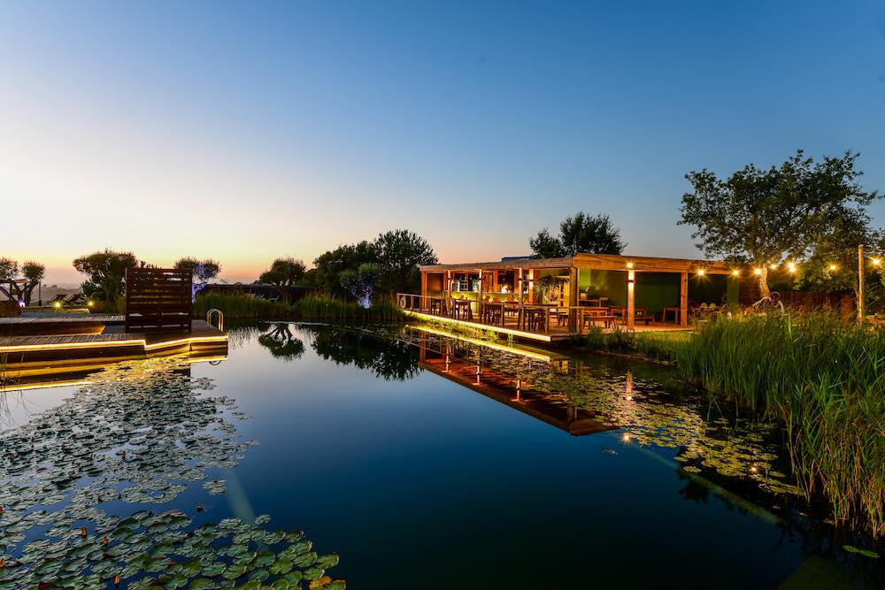 Bio pool and restaurant at a holiday accommodation Portugal