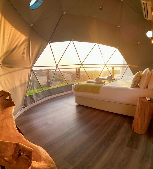 Inside a dome at the Reserva Alecrim listed on Airbnb Portugal