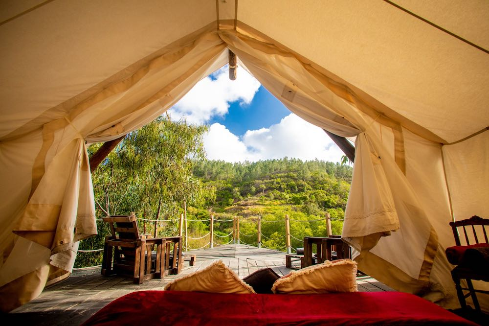 Why rent a villa in Portugal if you can enjoys the most verdant views from your own comfortable tent