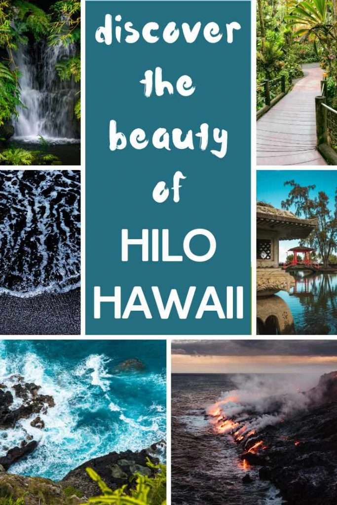 Black sand beach, lava flows, tropical nature and crashing waves in Hilo Hawaii