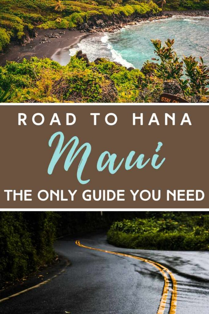 Winding road and black sand beach at the Road to Hana on Maui