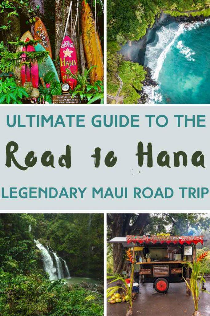 Red surf boards, crashing waves, waterfall and food shack along the Road to Hana in Hawaii