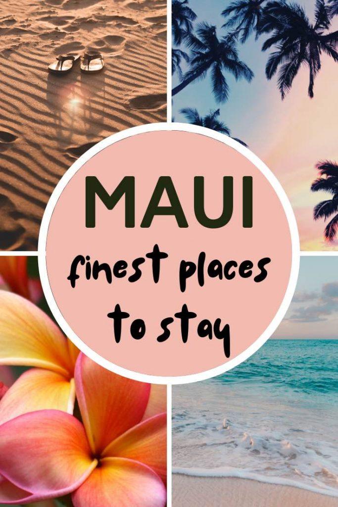 Beach, palms, plumeria and ocean in Maui Hawaii