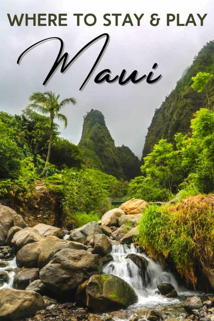 Lush green mountains and waterfall in Maui