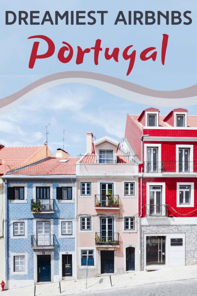 Ascending row of colorful rental houses in Portugal