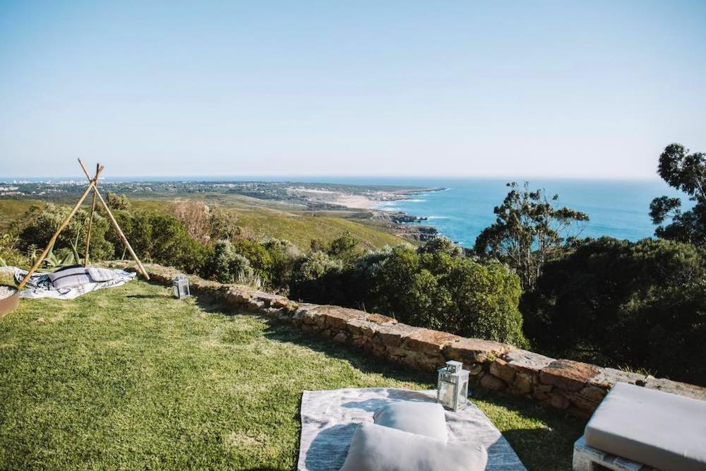 Garden with picnic blanket overlooking Guincho beach in the Sintra-Cascais Natural Park