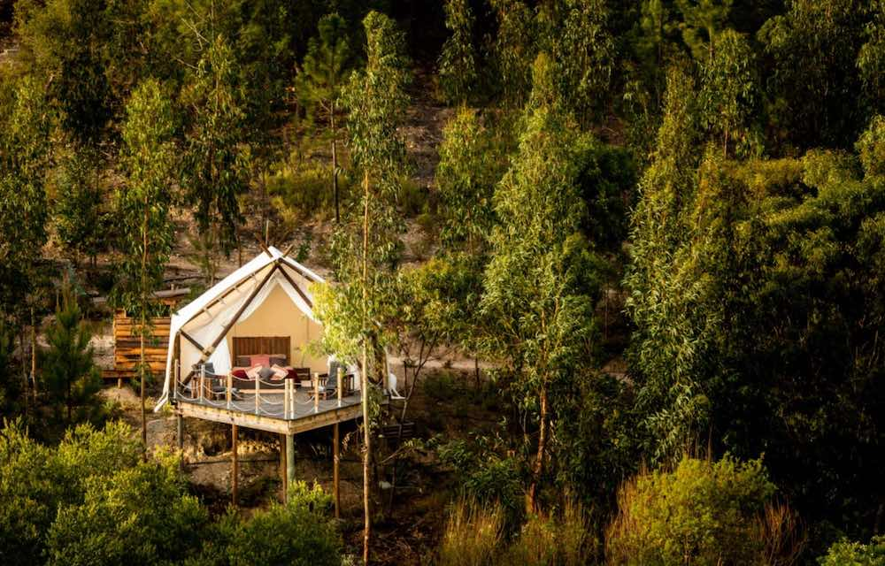 Glamping tent in a verdant setting of the Portuguese Algarve