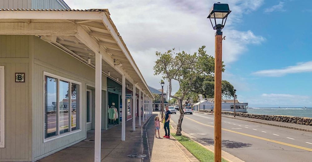 Father and daughter in Front Street Lahaina