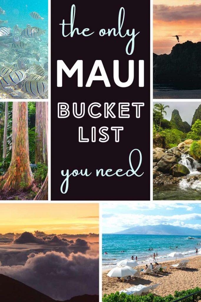 Haleakala sunrise, rainbow eucalyptus trees, tropical fish and Iao Valley waterfall in Maui Hawaii
