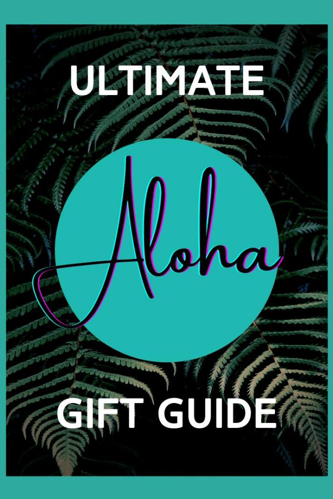 Dark palm trees with Hawaii gift guide lettering
