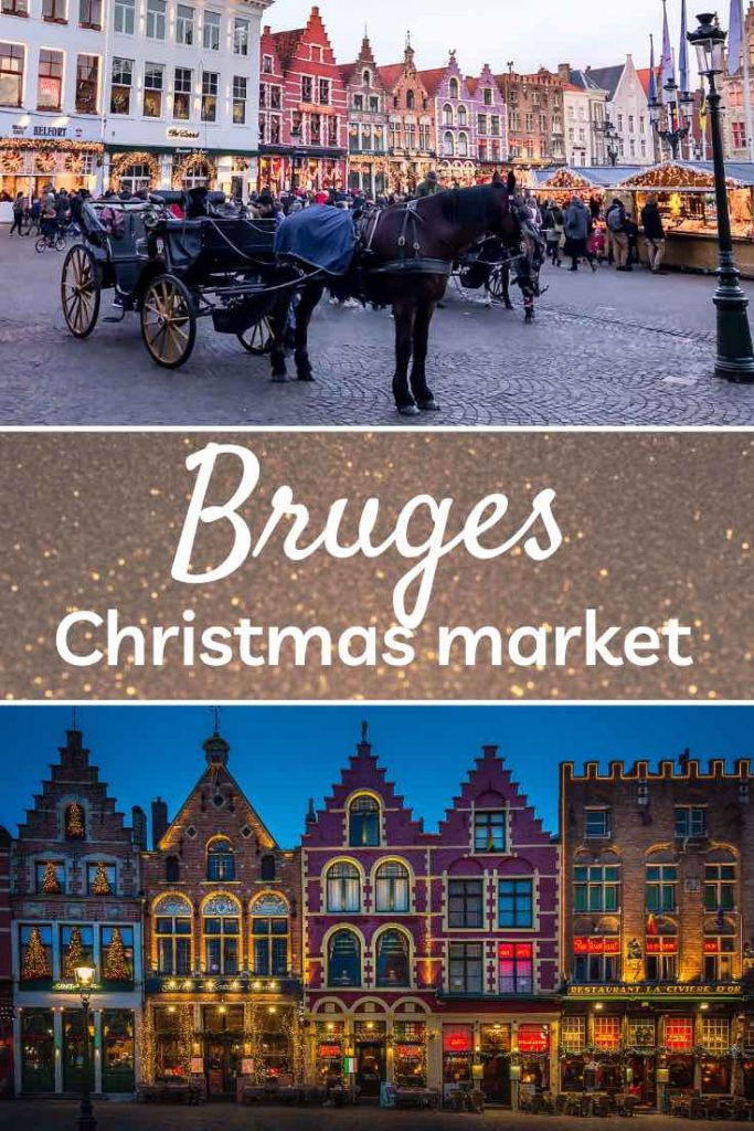 Bruges Christmas setting at Markt square with a horse-drawn carriage and a row of decorated stepped-gable houses