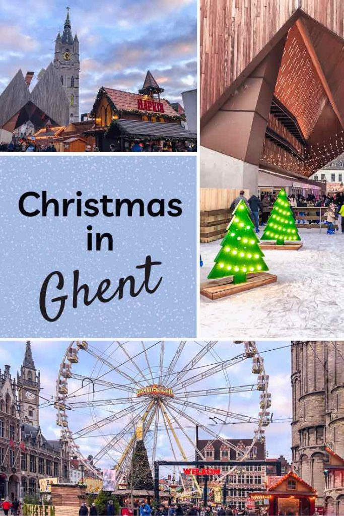 Ghent Christmas market with a view of the Belfry, the ice skating rink and the ferris wheel