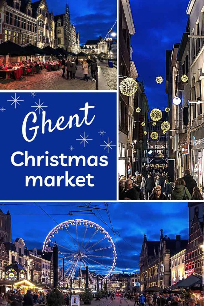 Christmas in Ghent with decorated terraces, illuminated streets and a ferris wheel