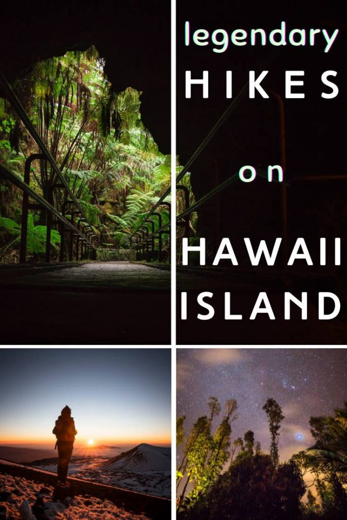 Thurston Lava tube, Mauna Kea overlook at sunset at night decor on Hawaii Big Island