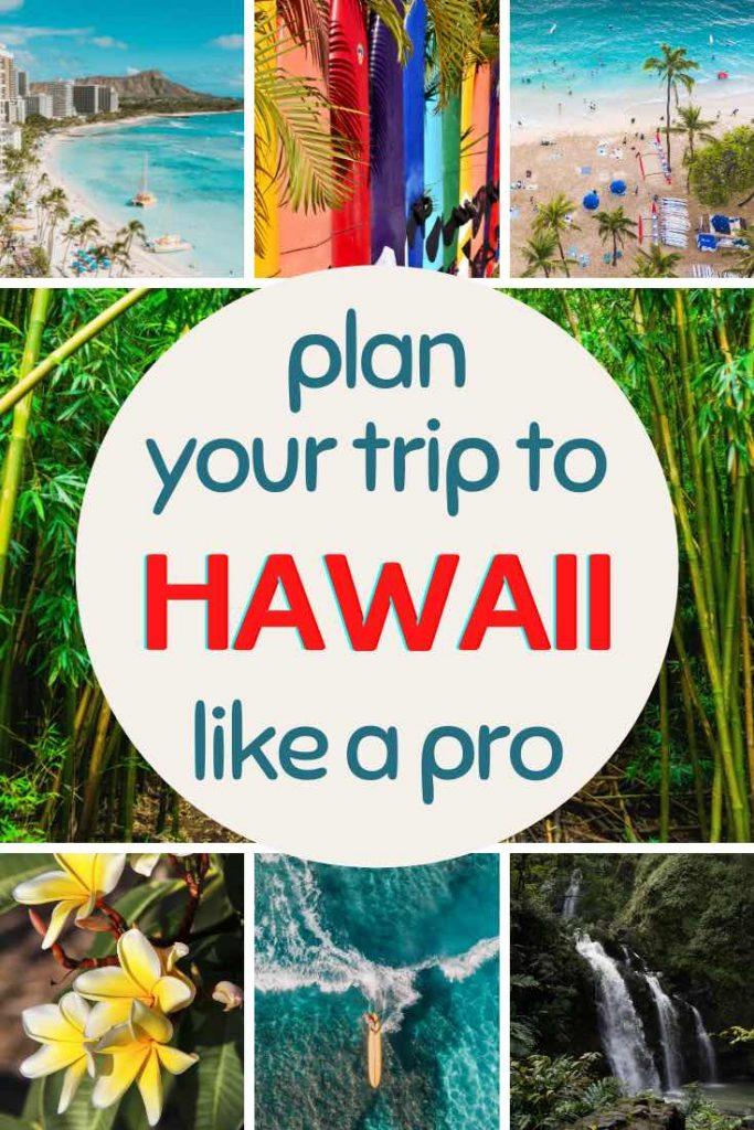 Hawaii beach scenes, surf boards, a waterfall and plumeria flowers