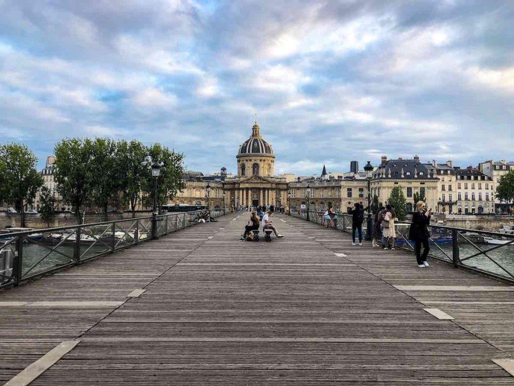 Pont des Arts bridge Paris with the Institut de France in the backdrop