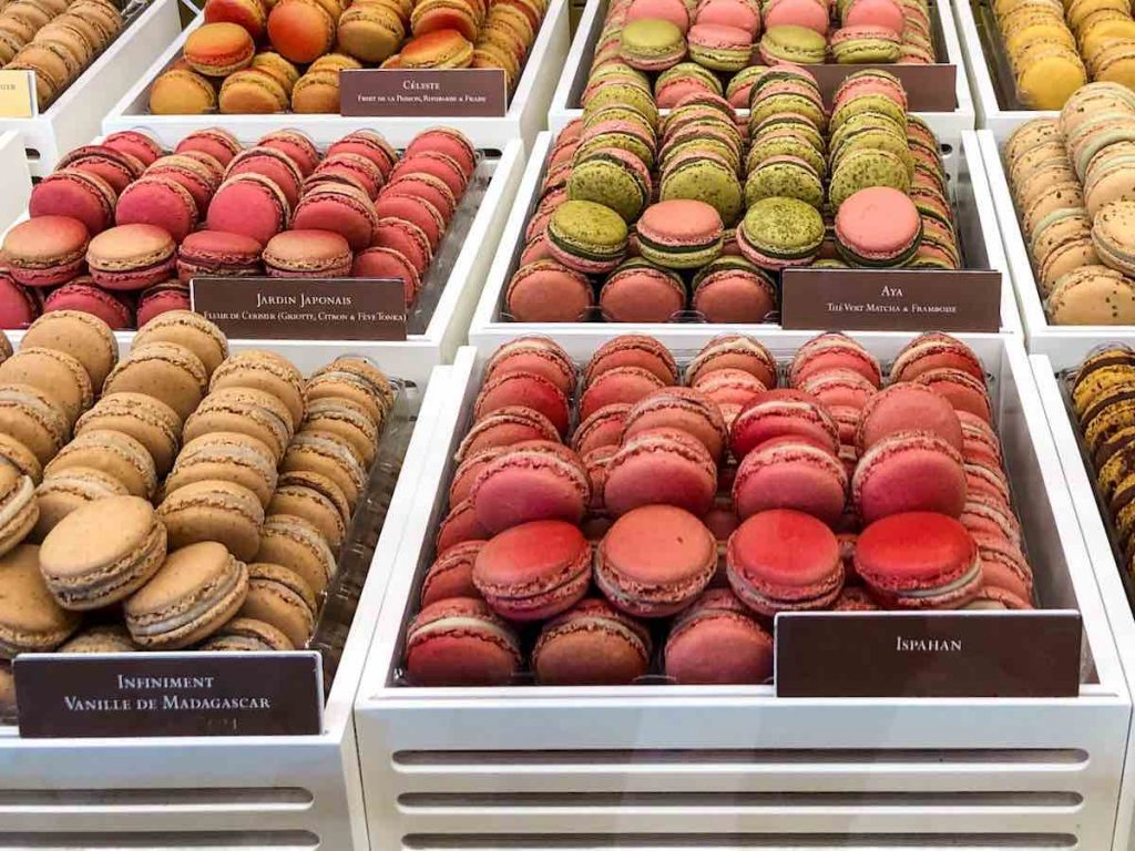 An example of the famous food of Paris are these colorful macarons from Pierre Herme