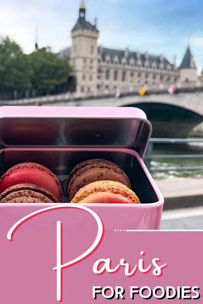 A pink box of macarons in Paris France