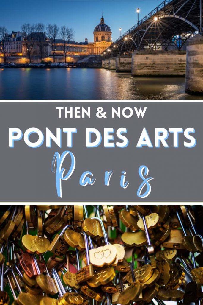 Pont des Arts at night and golden love locks